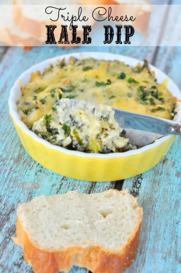 Impress your guests with this triple cheese kale dip.
