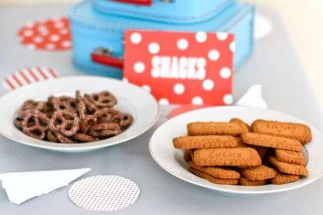 Airplane Themed Boys Birthday Party Food Pretzels