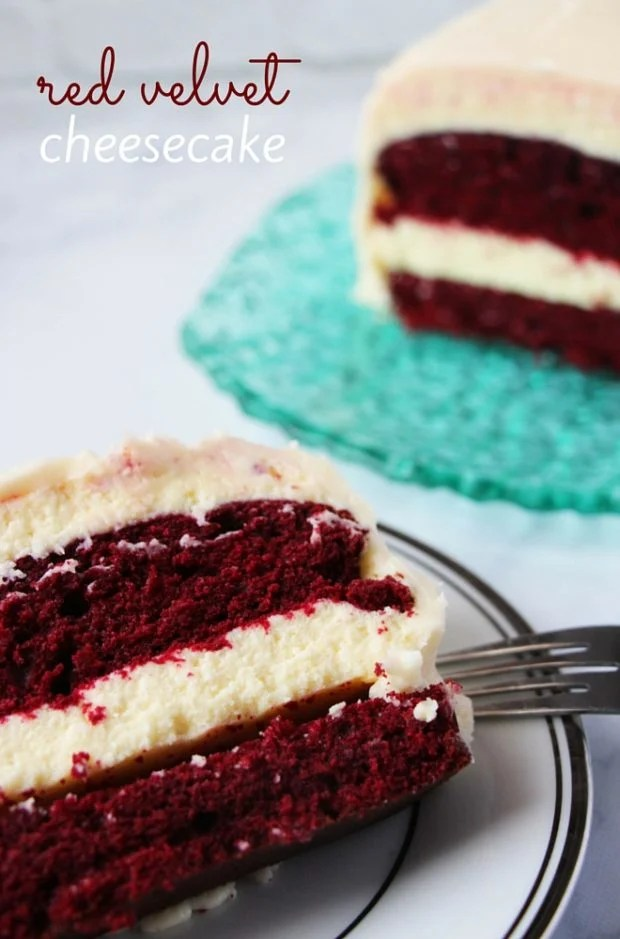 Delicious red velvet cheesecake recipe from Spaceships and Laser Beams. The perfect Valentine's Day cake.