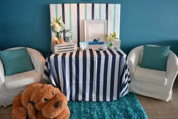 Boys Whale Themed Baby Shower Sign in Table Ideas