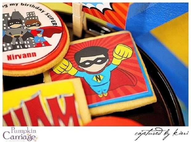 Superhero Themed Birthday Party Cookie ideas