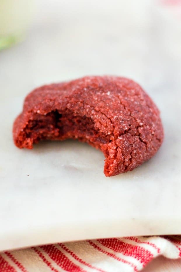 red velvet cookie with bite out of it