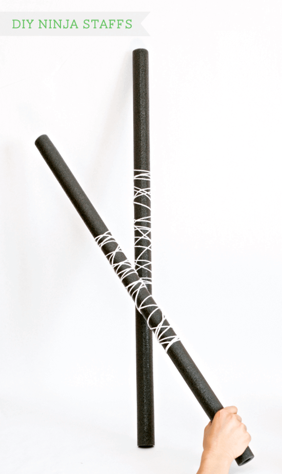 These DIY ninja staffs are sure to keep your guests in character at a Lego Ninjago party.