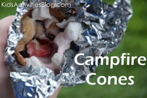 Delicious gooey fire-melted marshmallow, fruit and waffles. What could be better than these campfire cones?