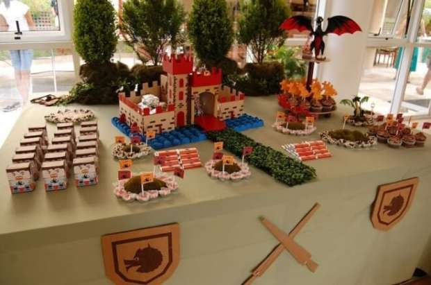 Boy's Knight Themed Birthday Party Dessert Table