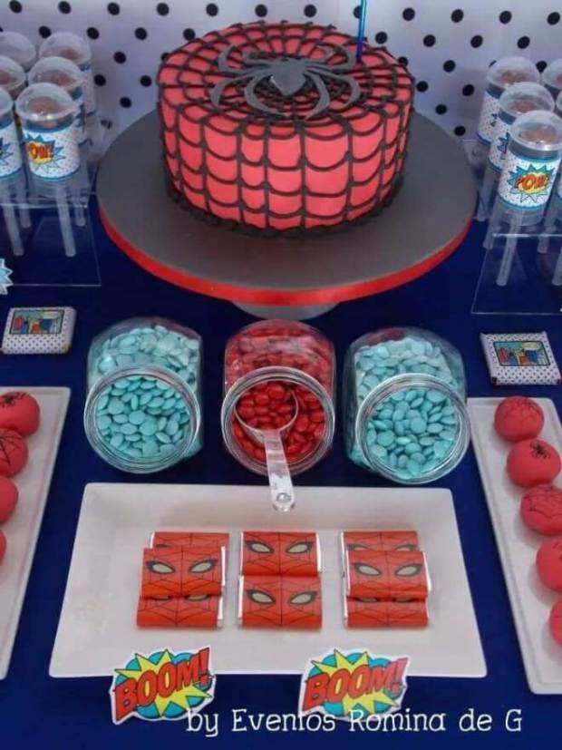 This Spiderman birthday dessert table is delightful and theme-appropriate