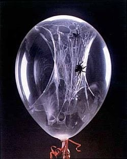 Spiderweb Balloons are cool and fun for a Spiderman party.
