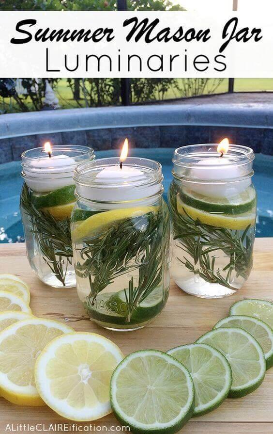 These DIY summer Mason jar luminaries are perfect for long summer evenings.