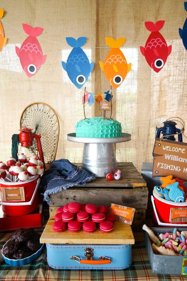 Boy's Gone Fishing Birthday Party Dessert Table
