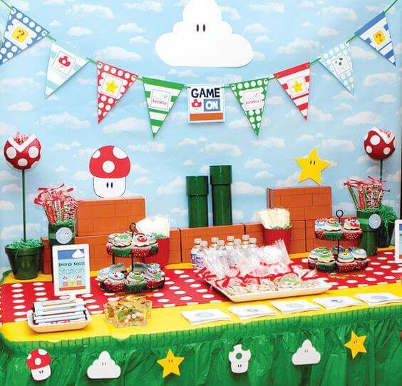 This delightful Super Mario dessert table incorporates many classic characters and patterns.