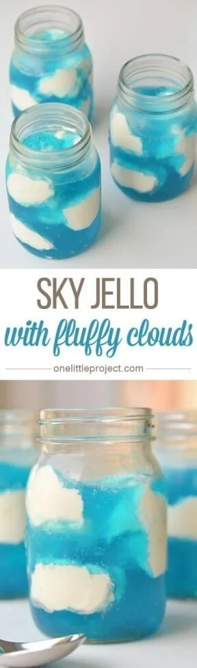 This incredible sky jello with fluffy clouds is perfect as a perfect Mario Brothers dessert.