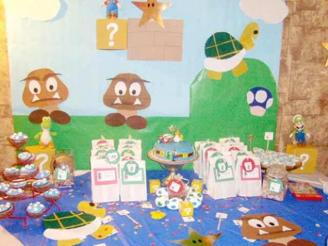 This backdrop is delightful and perfect for a Super Mario dessert table.