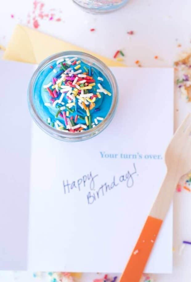 Mason Jar Birthday Cake Idea