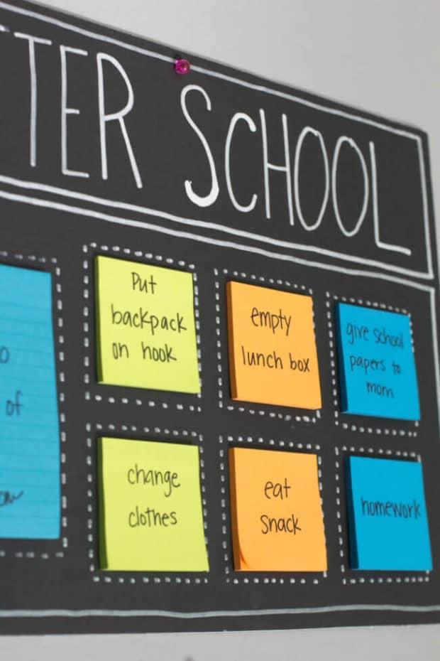 Post It Note After School Organization Board