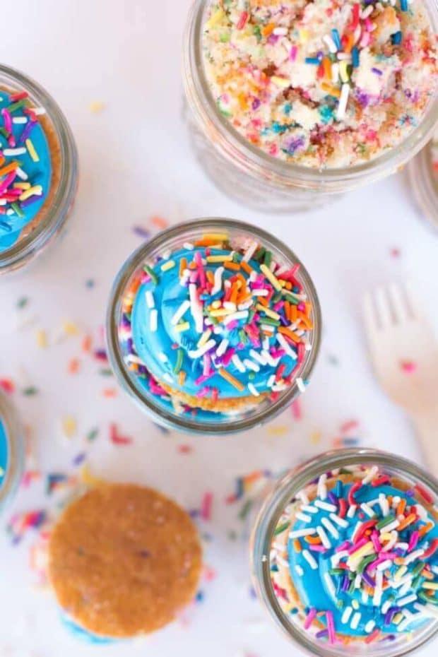 Sprinkles Birthday Cake in Mason Jars