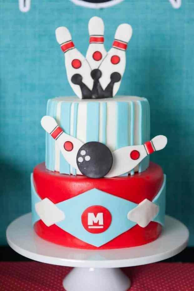Boys Bowling Themed Birthday Party Cake Ideas