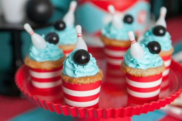 Boys Bowling Themed Birthday Party Cake Cupcake Ideas