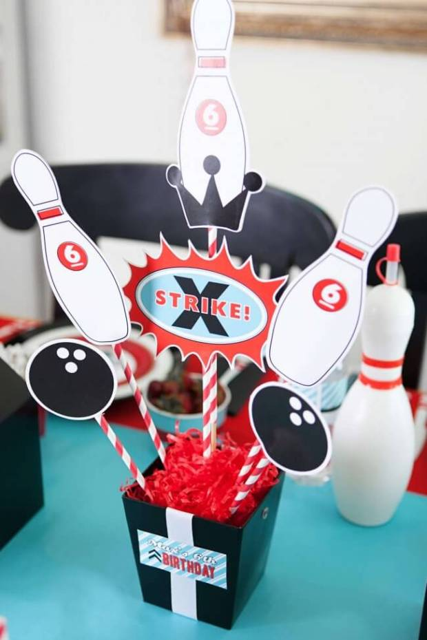 Boys Bowling Themed Birthday Party Food Party Table Centerpiece Decoration Ideas