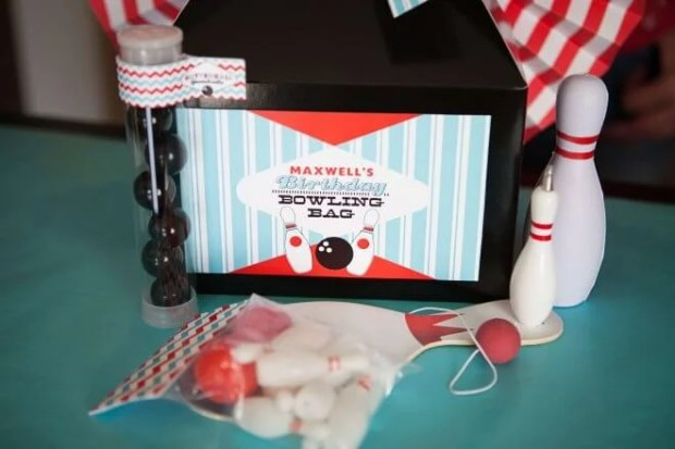Boys Bowling Themed Birthday Party Food Party favor ideas