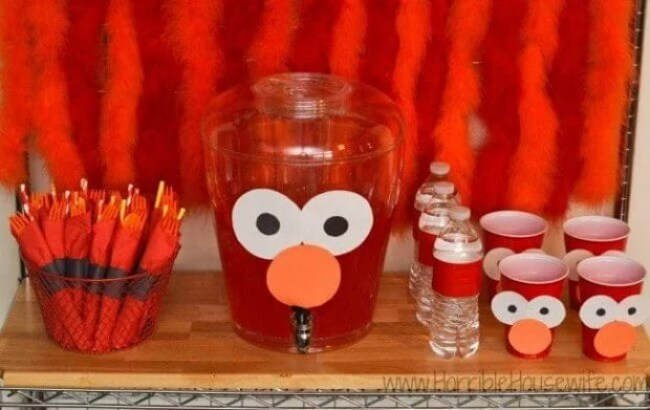 Elmo Birthday Party Cups and Drinks