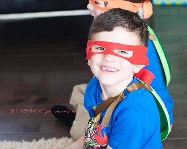 TMNT DIY Masks on Boy
