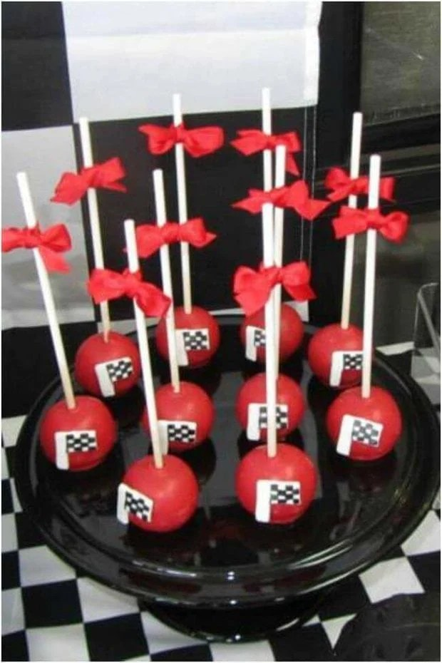 Race Car Party Checkered Flag Cake Pops