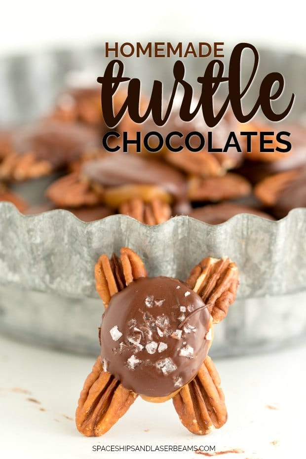 a homemade turtle candy resting against serving dish