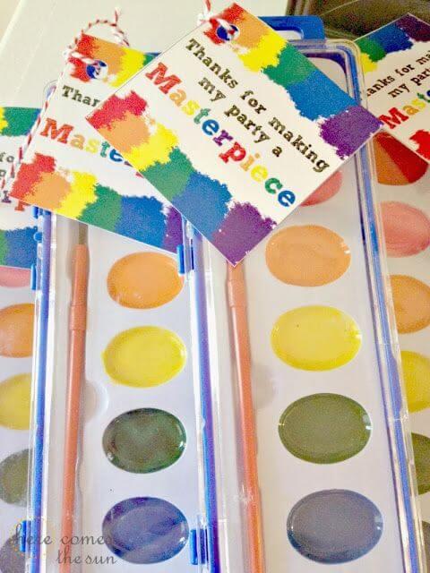 Watercolor Paint Party Favors