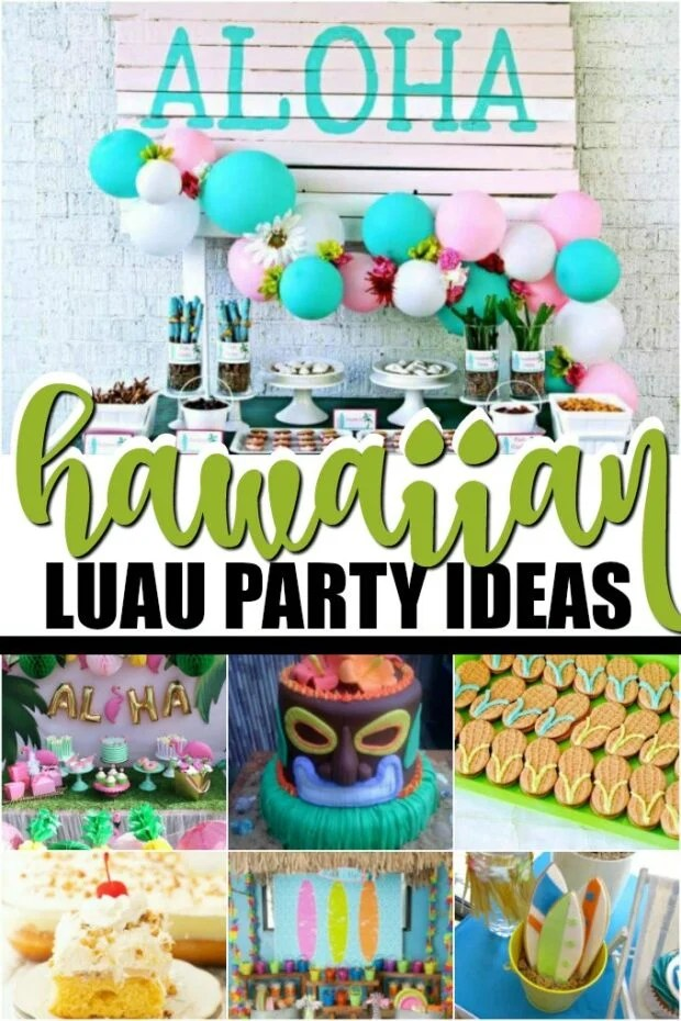 photo collage of Hawaiian luau party ideas