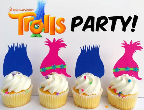 Poppy and Branch Trolls Hair Cupcake Toppers