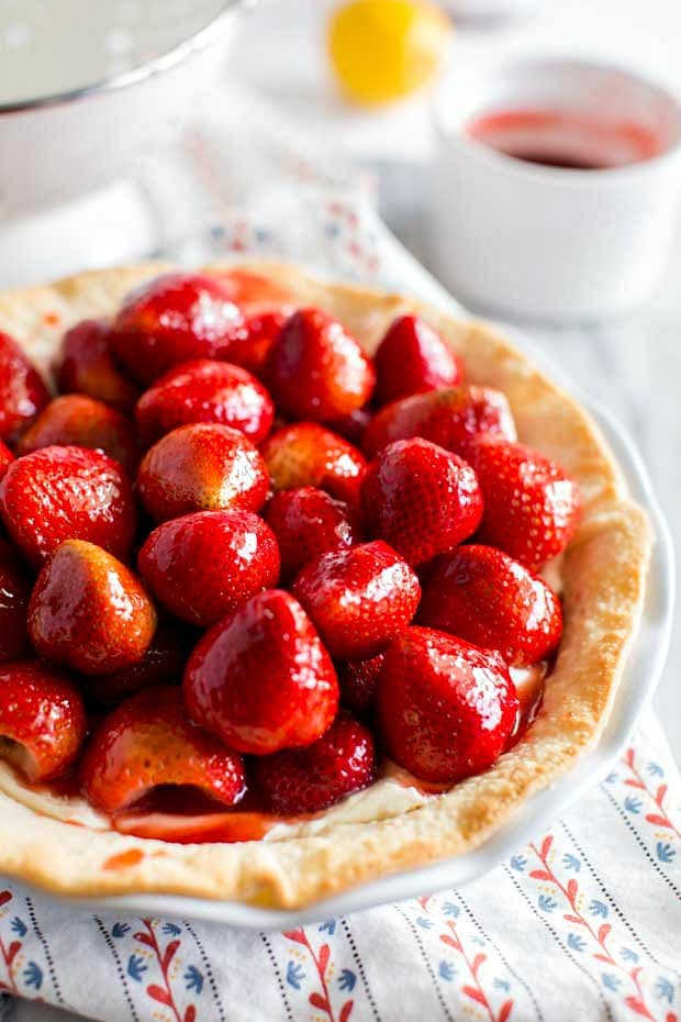 strawberry cream cheese pie on pretty patterned napkin