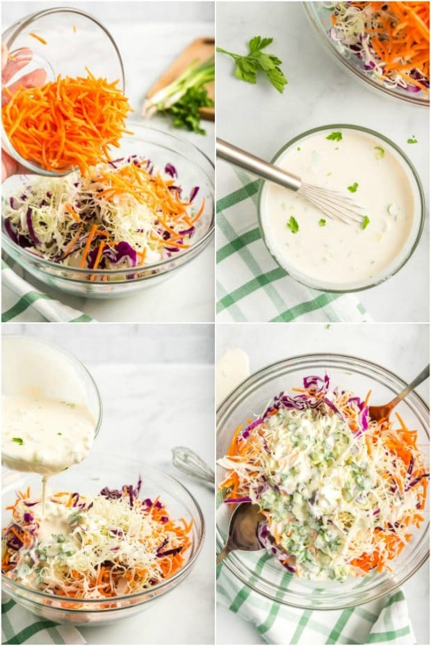 steps showing how to make coleslaw