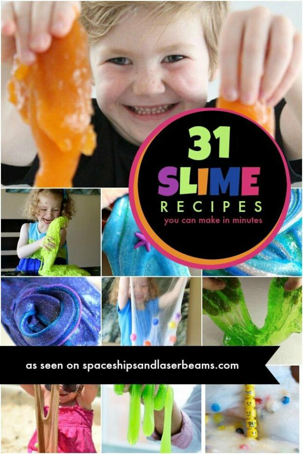 photo collage of slime recipes
