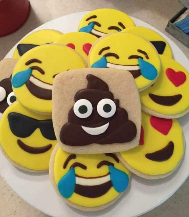 decorated emoji sugar cookies