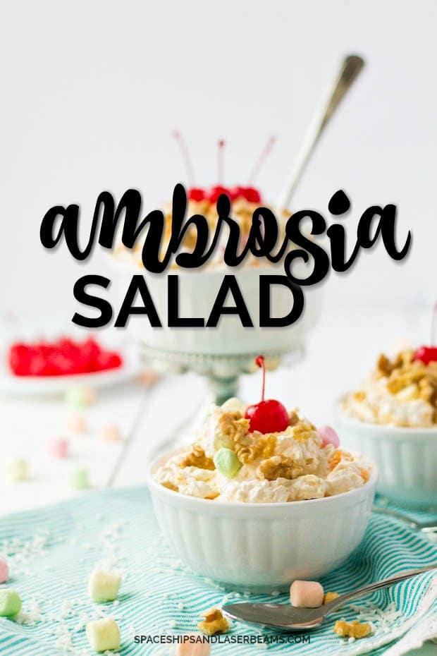 three bowls of ambrosia salad
