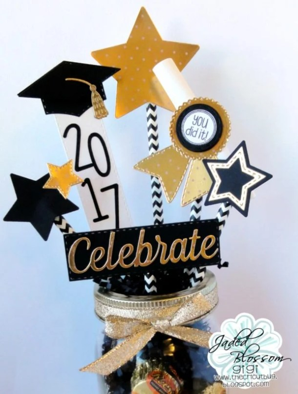 Paper Graduation Mason Jar Bouquet via Cricut | 19 Graduation Party Decoration Ideas