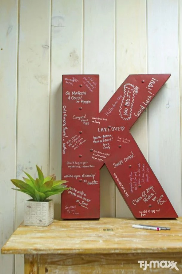 Signed Initial for Graduation Party by TJ Maxx | 19 Graduation Party Decoration Ideas