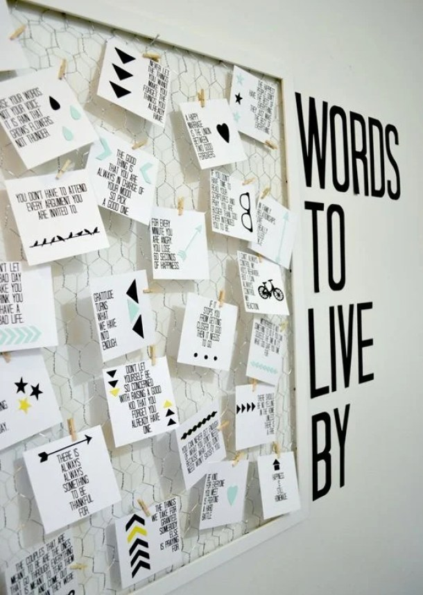 Words to Live By Art by A Lemon Squeezy Home | 19 DIY Graduation Party Decoration Ideas