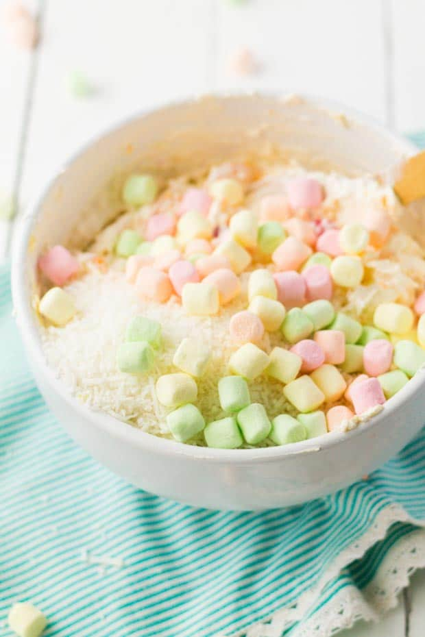 marshmallows for in bowl for ambrosia salad
