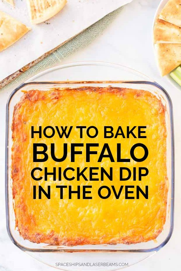 baking dish with buffalo chicken dip in it