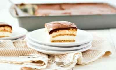 slice of eclair cake on white plates