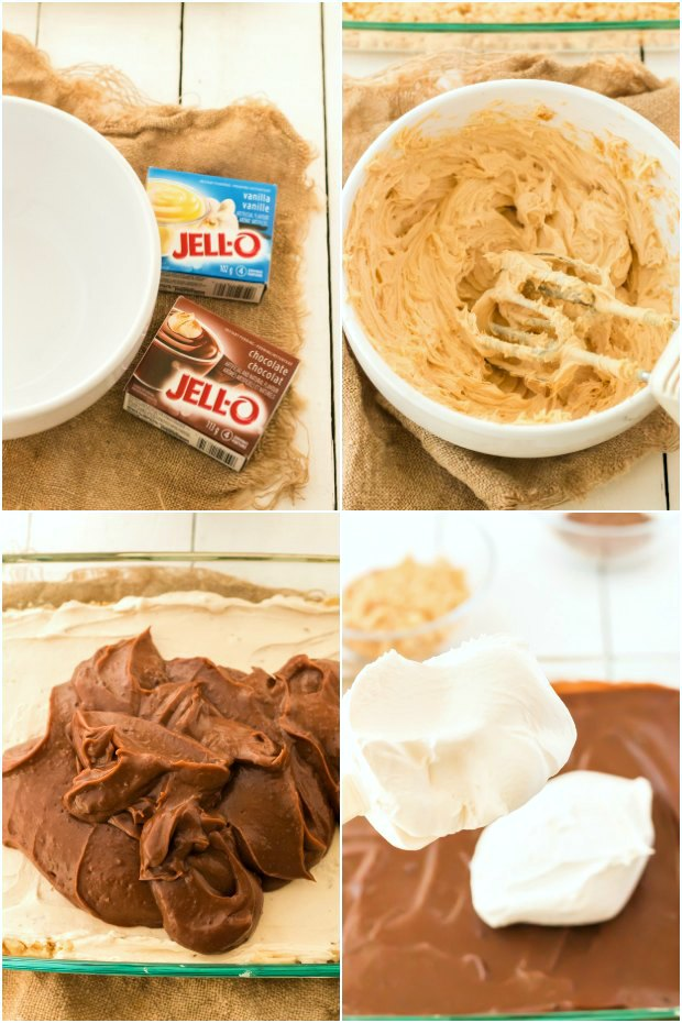 photo collage of steps for making an easy peanut butter lasagna