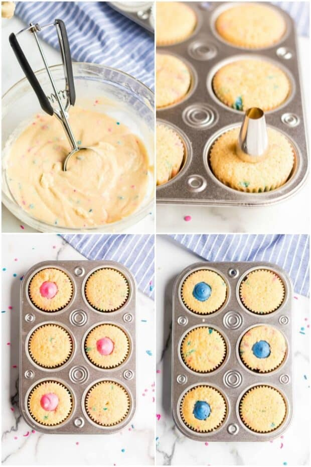photo collage showing how to make gender reveal cupcakes