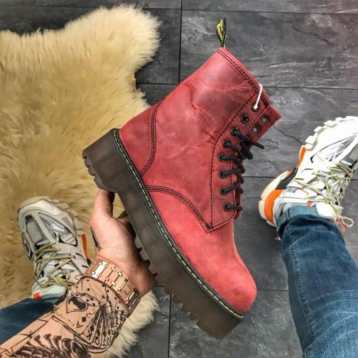 Женские зимние ботинки Dr Martens Jadone Red Fur • Space Shop UA