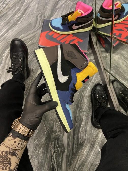 Кроссовки мужские Nike Air Jordan 1 Black/Brown/Blue (Синий Коричневый) • Space Shop UA