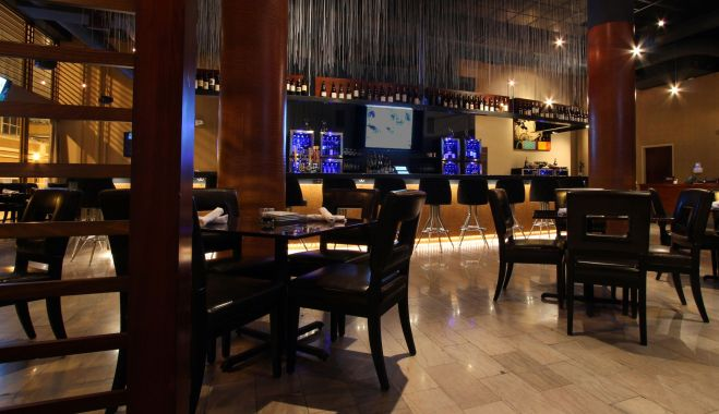 View of the bar from the dining room.