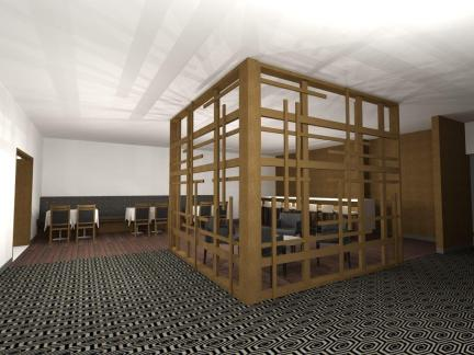 Early rendering of the bar. The open wood wall replaces a solid wall that hid the bar.