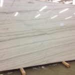 The slab of white quartzite that will be the new bar top.