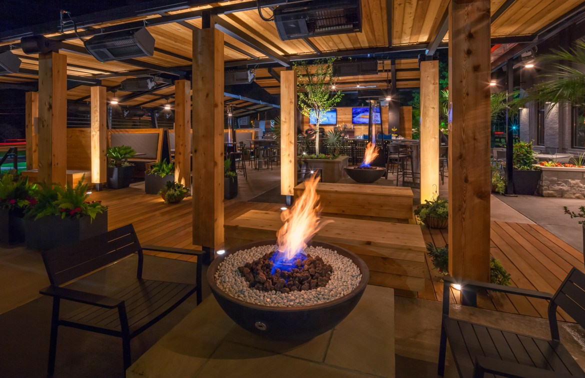 The patio features firepits, heaters and fans to keep guests comfortable all year round.