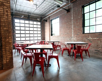 The front dining area. When the weather's nice, the staff opens the garage door to give the restaurant an open-air feel.
